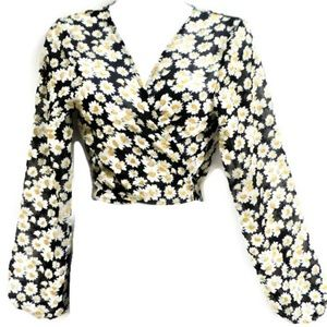 Wallflower New Wrap Blouse Floral Daisies L